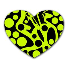 Green and black abstract art Heart Mousepads