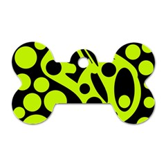Green and black abstract art Dog Tag Bone (One Side)