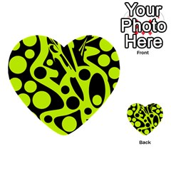 Green and black abstract art Multi-purpose Cards (Heart)