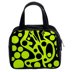 Green and black abstract art Classic Handbags (2 Sides)