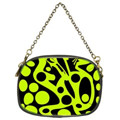 Green and black abstract art Chain Purses (One Side)