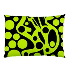 Green and black abstract art Pillow Case