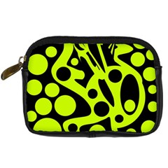 Green and black abstract art Digital Camera Cases