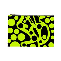 Green and black abstract art Cosmetic Bag (Large)
