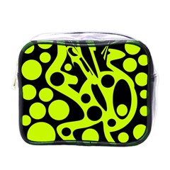 Green and black abstract art Mini Toiletries Bags