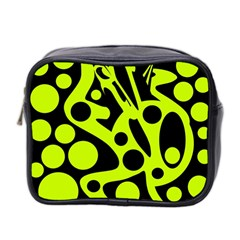Green and black abstract art Mini Toiletries Bag 2-Side