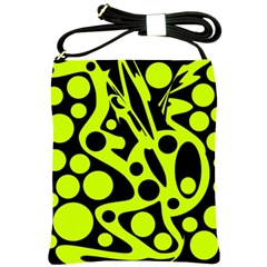 Green and black abstract art Shoulder Sling Bags