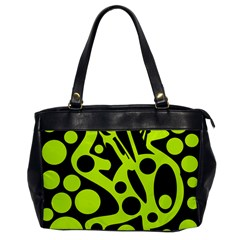 Green and black abstract art Office Handbags