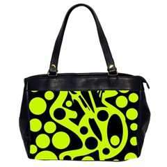 Green and black abstract art Office Handbags (2 Sides)