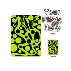 Green and black abstract art Playing Cards 54 (Mini)