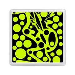 Green and black abstract art Memory Card Reader (Square)