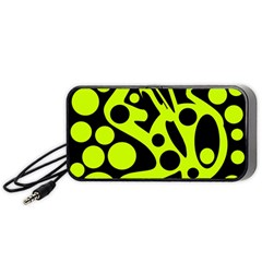 Green and black abstract art Portable Speaker (Black)