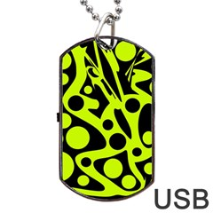Green and black abstract art Dog Tag USB Flash (Two Sides)