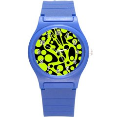 Green and black abstract art Round Plastic Sport Watch (S)