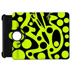Green and black abstract art Kindle Fire HD Flip 360 Case