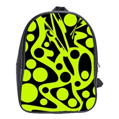 Green and black abstract art School Bags (XL)