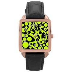 Green and black abstract art Rose Gold Leather Watch