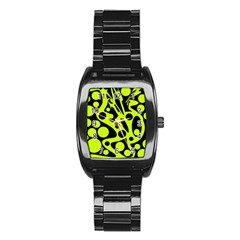 Green and black abstract art Stainless Steel Barrel Watch