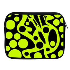Green and black abstract art Apple iPad 2/3/4 Zipper Cases