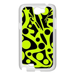 Green and black abstract art Samsung Galaxy Note 2 Case (White)