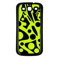 Green and black abstract art Samsung Galaxy S3 Back Case (Black)