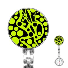 Green and black abstract art Stainless Steel Nurses Watch