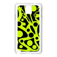 Green and black abstract art Samsung Galaxy Note 3 N9005 Case (White)