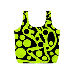 Green and black abstract art Full Print Recycle Bags (S)