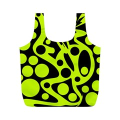 Green and black abstract art Full Print Recycle Bags (M)