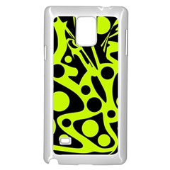Green and black abstract art Samsung Galaxy Note 4 Case (White)