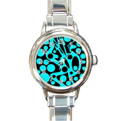 Cyan and black abstract decor Round Italian Charm Watch