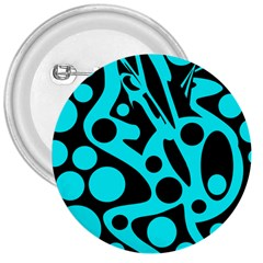 Cyan and black abstract decor 3  Buttons