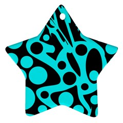 Cyan and black abstract decor Ornament (Star)