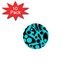 Cyan and black abstract decor 1  Mini Buttons (10 pack)