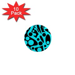 Cyan and black abstract decor 1  Mini Magnet (10 pack)