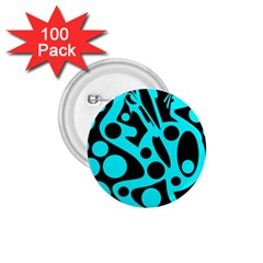 Cyan and black abstract decor 1.75  Buttons (100 pack)