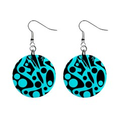 Cyan and black abstract decor Mini Button Earrings