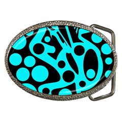 Cyan and black abstract decor Belt Buckles