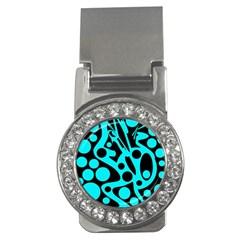 Cyan and black abstract decor Money Clips (CZ)