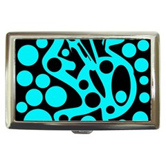 Cyan and black abstract decor Cigarette Money Cases