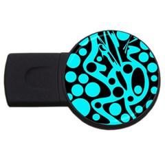 Cyan and black abstract decor USB Flash Drive Round (1 GB)