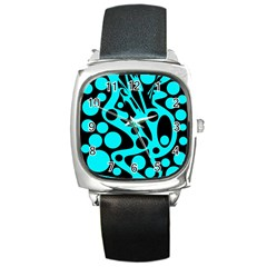 Cyan and black abstract decor Square Metal Watch