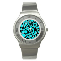 Cyan and black abstract decor Stainless Steel Watch