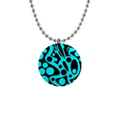 Cyan and black abstract decor Button Necklaces