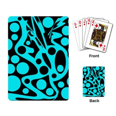 Cyan and black abstract decor Playing Card