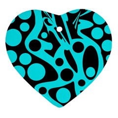 Cyan and black abstract decor Heart Ornament (2 Sides)
