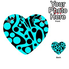 Cyan and black abstract decor Playing Cards 54 (Heart)