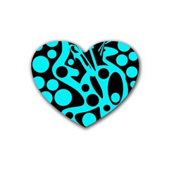 Cyan and black abstract decor Rubber Coaster (Heart)