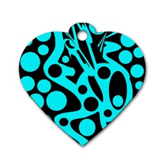 Cyan and black abstract decor Dog Tag Heart (Two Sides)