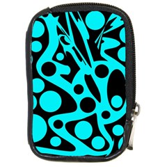 Cyan and black abstract decor Compact Camera Cases